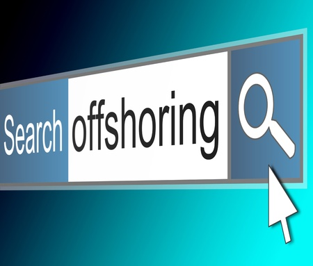 offshoring: Illustration depicting a screenshot of an internet search bar with an offshoring concept