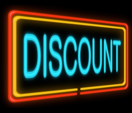 reduced value: Illustration depicting a neon signage with a discount concept