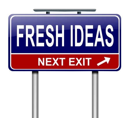 starting: Illustration depicting a sign with a fresh ideas concept  Stock Photo