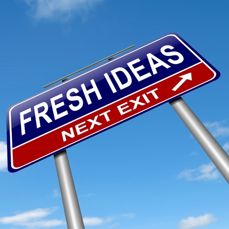 again: Illustration depicting a sign with a fresh ideas concept  Stock Photo