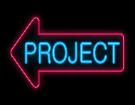 undertaking: Illustration depicting a neon signage with a project concept  Stock Photo