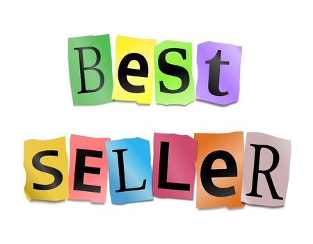 Illustration depicting cutout printed letters arranged to form the words best seller  Stock Illustration - 17804793