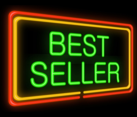 bestseller: Illustration depicting a neon signage with a best seller concept