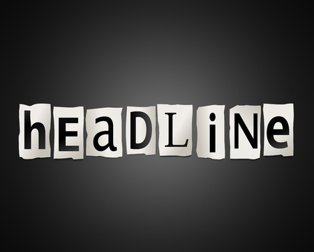 Illustration depicting cutout printed letters arranged to form the word headline Stock Illustration - 17804801