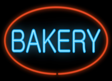 bakery shop: Illustration depicting neon signage with a bakery concept  Stock Photo