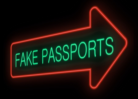 counterfeit: Illustration depicting a neon signage with a fake passports concept  Stock Photo