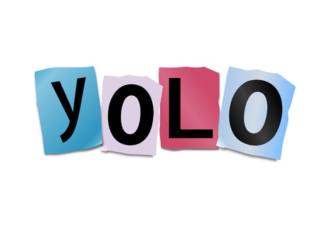 once: Illustration depicting cutout printed letters arranged to form the word yolo
