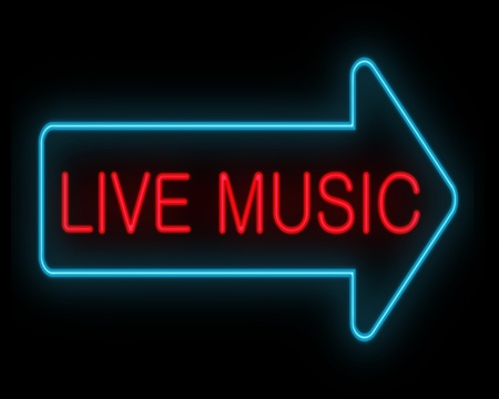 live entertainment: Illustration depicting a neon signage with a live music concept  Stock Photo
