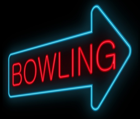 bowling alley: Illustration depicting a neon signage with a bowling concept.