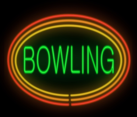 ten pin bowling: Illustration depicting a neon signage with a bowling concept.