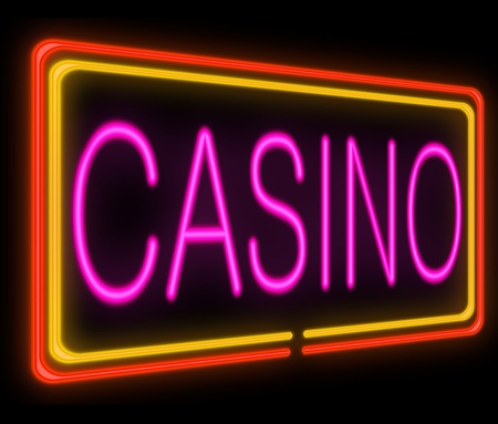 night life: Illustration depicting a neon signage with a casino concept.