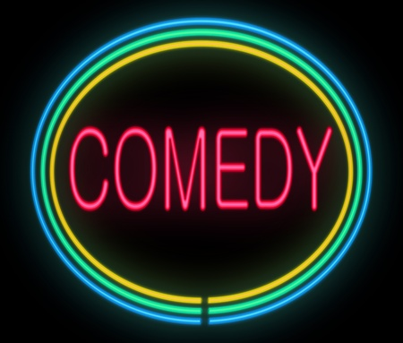 joking: Illustration depicting a neon signage with a comedy concept. Stock Photo