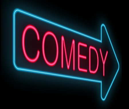Illustration depicting a neon signage with a comedy concept. Фото со стока