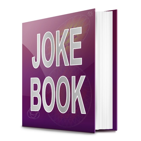 joking: Illustration depicting a text book with a joke book title. White background.