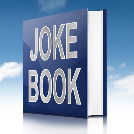 joking: Illustration depicting a text book with a joke book title. Sky background.