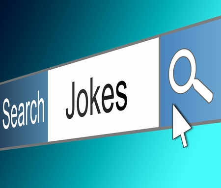 Illustration depicting a screen shot of an internet search bar containing a jokes concept.  Stock Illustration - 17804872