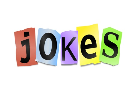 joking: Illustration depicting cutout printed letters arranged to form the word jokes. Stock Photo