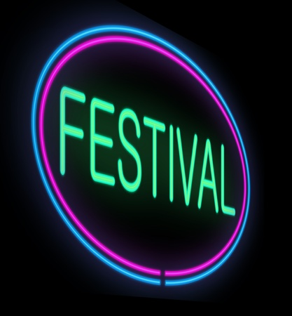 performing arts event: Illustration depicting a neon signage with a festival concept.