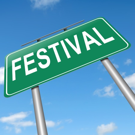 Illustration depicting a sign with a festival concept. Stock Photo