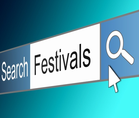 Illustration depicting a screen shot of an internet search bar containing a festival concept.  Stock Illustration - 17804850