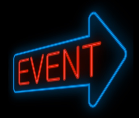 life event: Illustration depicting a neon signage with an event concept.