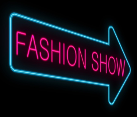 fashion collection: Illustration depicting a neon signage with a fashion show concept. Stock Photo