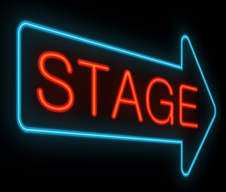 Illustration depicting a neon signage with a stage concept. illustration