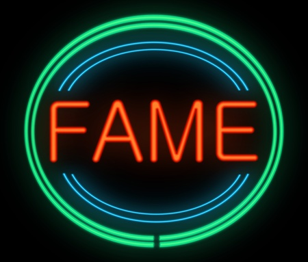 renown: Illustration depicting a neon signage with a fame concept.