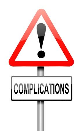 complicación: Ilustraci�n que muestra un letrero con un concepto de complicaci�n. Foto de archivo