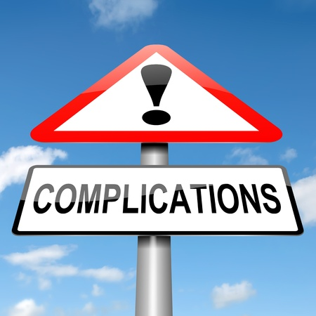 complication: Illustration depicting a sign with a complication concept. Stock Photo