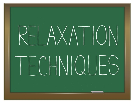 Illustration depicting a green chalkboard with a relaxation concept. Stock Illustration - 17957678