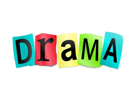 commotion: Illustration depicting cutout printed letters arranged to form the word drama. Stock Photo
