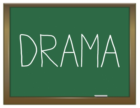 dramatics: Illustration depicting a green chalkboard with a drama concept. Stock Photo