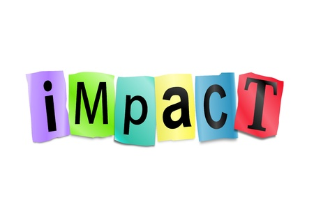 Illustration depicting cutout printed letters arranged to form the word impact. illustration