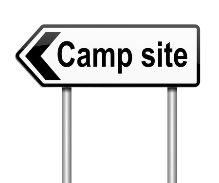 campground: Illustration depicting a sign with a camping concept