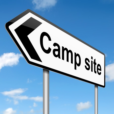 Illustration depicting a sign with a camping concept  illustration