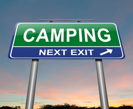 Illustration depicting a sign with a camping concept  Stock Illustration - 17957696