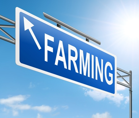 arable: Illustration depicting a sign with a farming concept