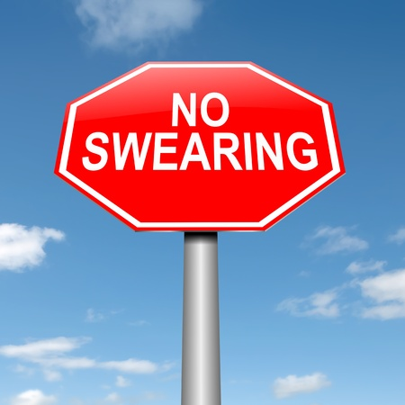 swearing: Illustration depicting a sign with a no swearing concept