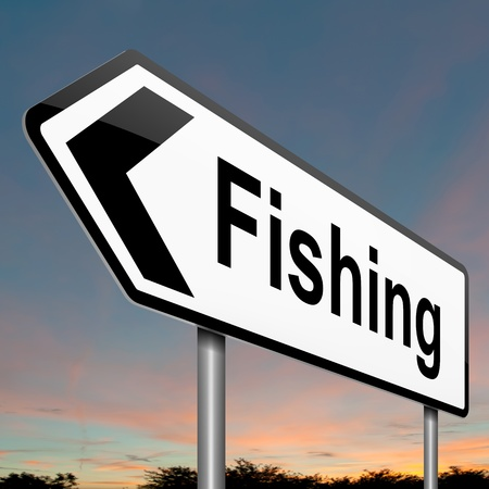 Illustration depicting a sign with a fishing concept  Stock Illustration - 17957691