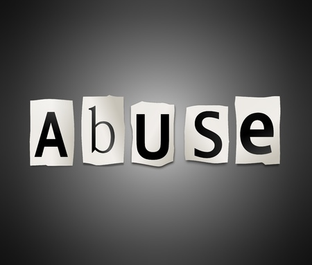 maltreatment: Illustration depicting cutout printed letters arranged to form the word abuse