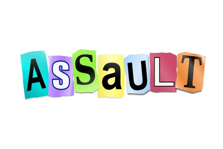 mugged: Illustration depicting cutout printed letters arranged to form the word assault