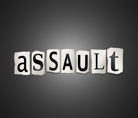 assault: Illustration depicting cutout printed letters arranged to form the word assault