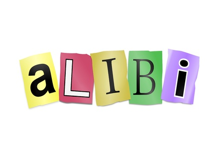 Illustration depicting cutout printed letters arranged to form the word alibi. Stock Illustration - 18003862
