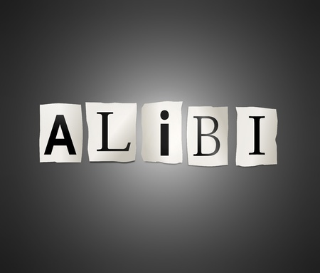 alibi: Illustration depicting cutout printed letters arranged to form the word alibi. Stock Photo