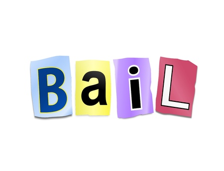 bail: Illustration depicting cutout printed letters arranged to form the word bail. Stock Photo