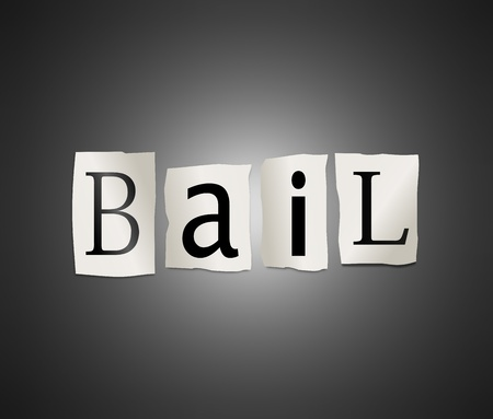 Illustration depicting cutout printed letters arranged to form the word bail. Stock Illustration - 18003950