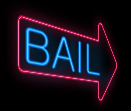 prison system: Illustration depicting a neon signage with a bail concept.