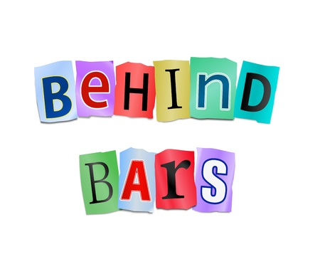 Illustration depicting cutout printed letters arranged to form the words behind bars  illustration