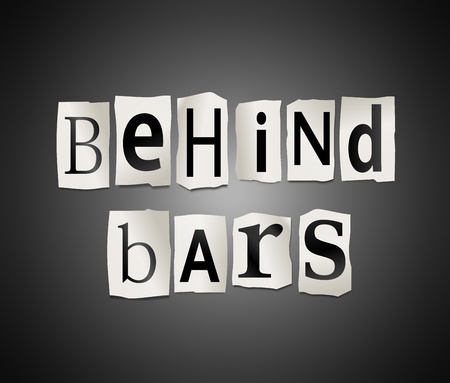 behind bars: Illustration depicting cutout printed letters arranged to form the words behind bars  Stock Photo